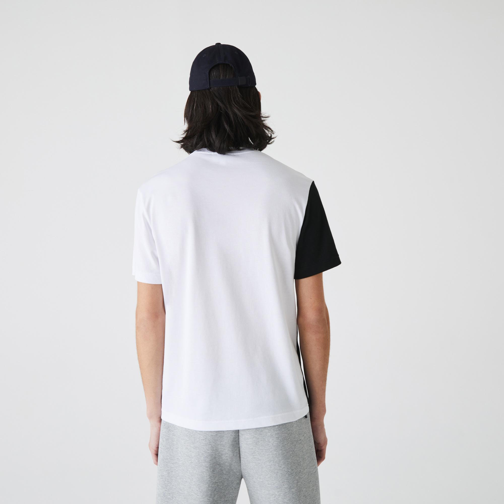 Lacoste Men's Crew Neck Lettering Colourblock T-shirt
