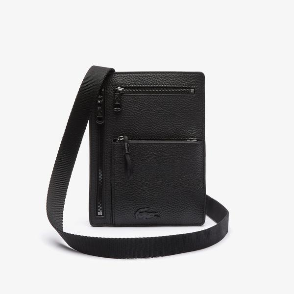 Lacoste Men's Soft matte Neck Strap Grained Leather Wallet Bag