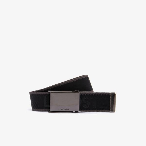 Lacoste Men's Engraved Plate Buckle Lettered Woven Belt