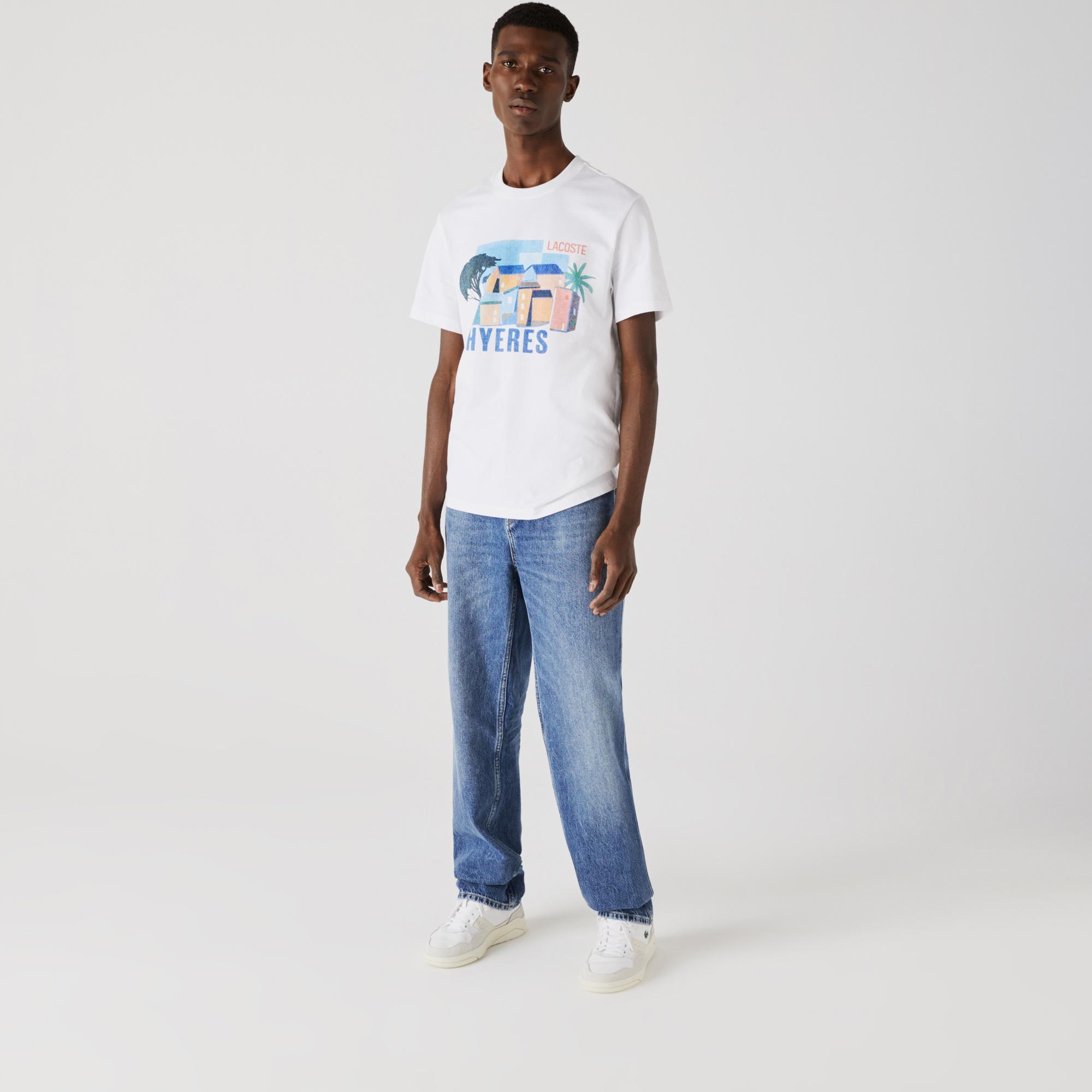 Lacoste Men's Crew Neck Landscape Print Cotton T-shirt