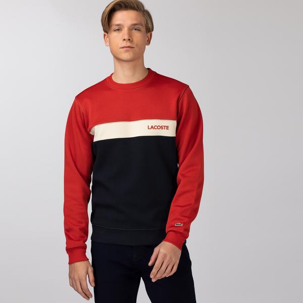 Lacoste Men's Crew Neck Lettering Colourblock Piqué Sweatshirt