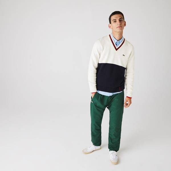 Lacoste Men's Made in France Two-Tone Wool V-Neck Sweater