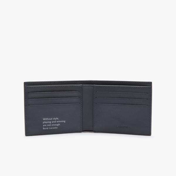 Lacoste Men's Fitzgerald Smooth Checkered Leather Small Wallet