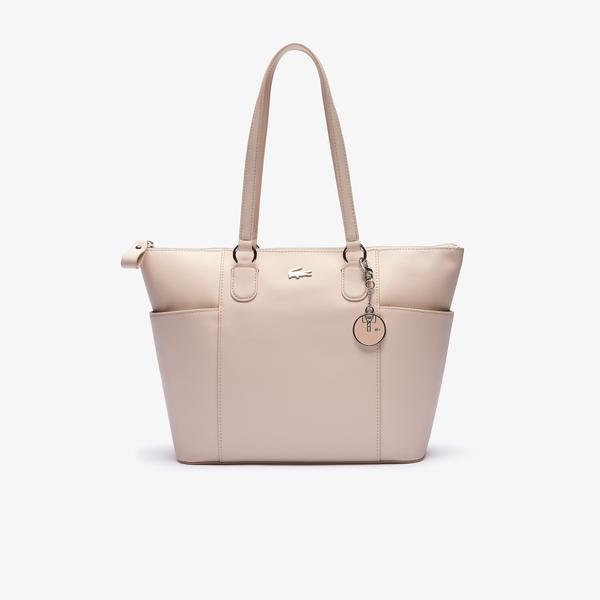 Lacoste Women's Daily Classic Polo Charm Piqué Canvas Zip Tote Bag