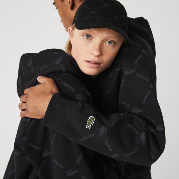 Lacoste Unisex LIVE Loose Fit Monogram Cotton Hoodie